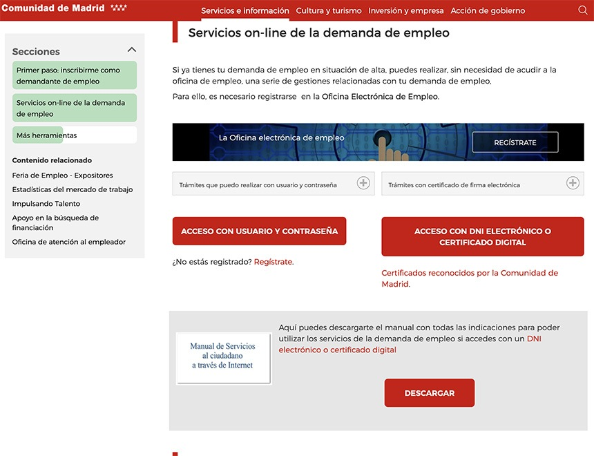 Servicios on line de la demanda de empleo - Apuntarse y solicitar el paro en Madrid
