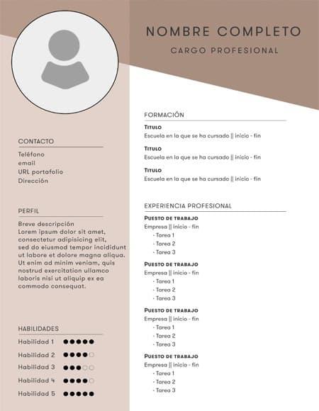 curriculum vitae marron - Plantilla curriculum vitae marrón