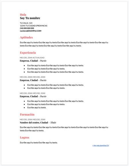 plantilla curriculum coral - Plantilla curriculum vitae coral