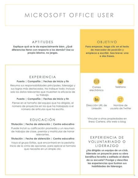 plantilla curriculum impoluto - Plantilla curriculum vitae impoluto
